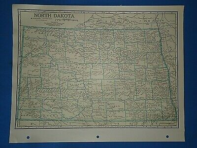 Old Vintage Circa 1942 NORTH DAKOTA MAP + County, Trunk Highways & Fact Page