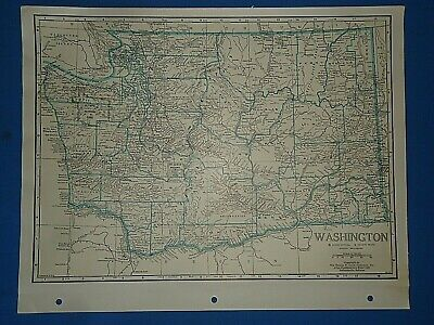 Old Vintage Circa 1942 WASHINGTON MAP + County, Trunk Highways & Fact Page
