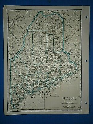Old Vintage Circa 1942 MAINE MAP + County, Trunk Highways, Index & Fact Page