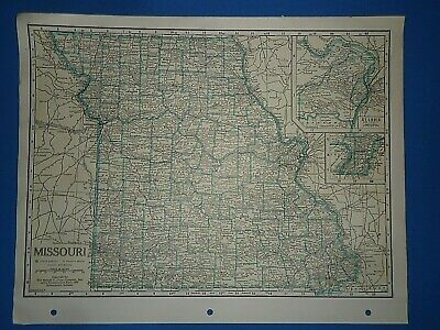 Old Vintage Circa 1942 MISSOURI MAP + County, Trunk Highways, Index & Fact Page