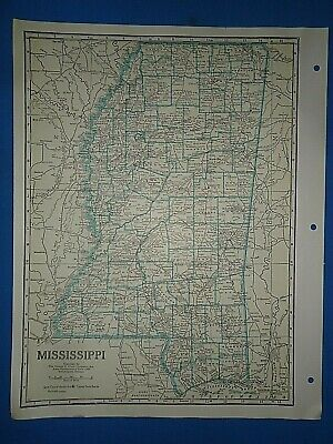 Old Vintage Circa 1942 MISSISSIPPI MAP + County, Trunk Highways & Fact Page