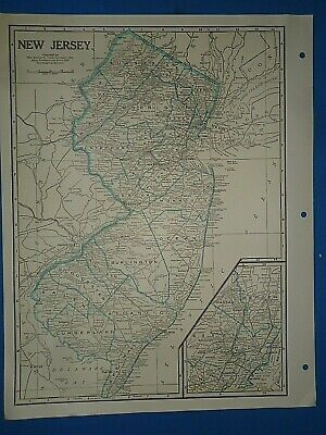 Old Vintage Circa 1942 NEW JERSEY MAP + County, Trunk Highways & Fact Page
