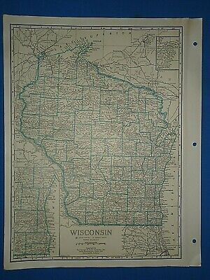 Old Vintage Circa 1942 WISCONSIN MAP + County, Trunk Highways & Fact Page