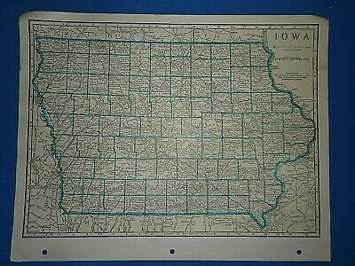 Old Vintage Circa 1942 IOWA MAP + County, Trunk Highways, Index & Fact Page