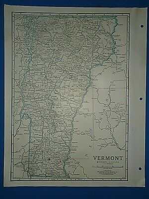 Old Vintage Circa 1942 VERMONT MAP + County, Trunk Highways, Index & Fact Page