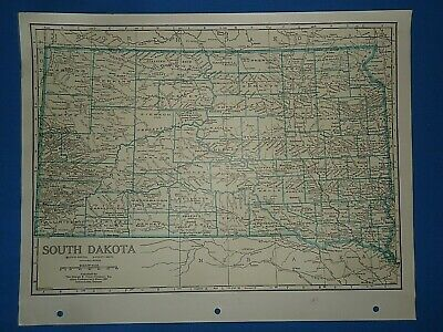 Old Vintage Circa 1942 SOUTH DAKOTA MAP + County, Trunk Highways & Fact Page