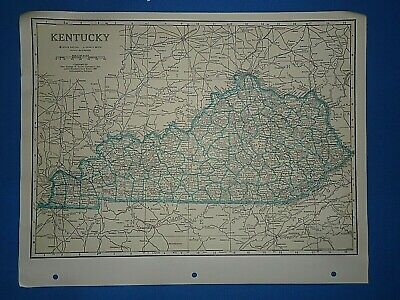 Old Vintage Circa 1942 KENTUCKY MAP + County, Trunk Highways, Index & Fact Page