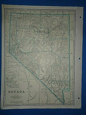 Old Vintage Circa 1942 NEVADA MAP + County, Trunk Highways, Index & Fact Page