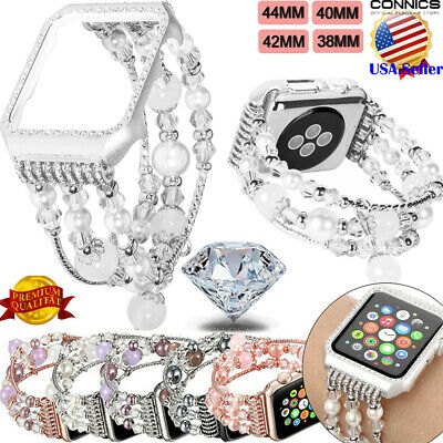 For Apple Watch Series 4 40mm 44mm Girls' Bling Agate Beads Strap Bracelet Band