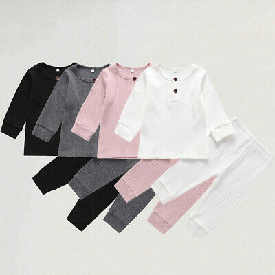 UK Newborn Baby Boy Girl Knitted Solid Color T-Shirt Trousers Leggings Clothes