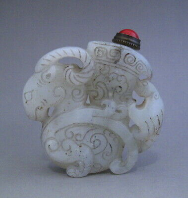 Lovely Chinese Old Jade Hand Carved beast Snuff Bottle