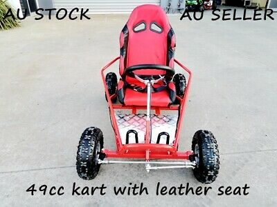Brand New 49cc Mini Go Kart 4 Wheeler Kids 2 Stroke Buggy Quad Leather Seat Red