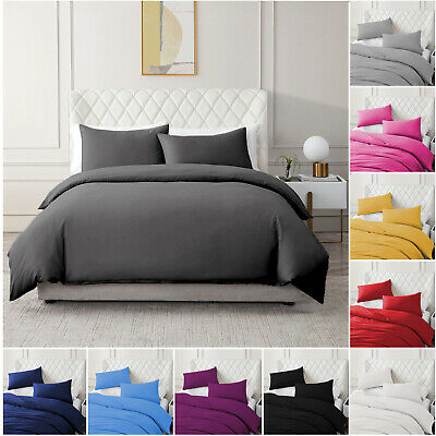 Plain Brushed Cotton Duvet Cover  Non Iron Quilt Bedding Set Double King Size