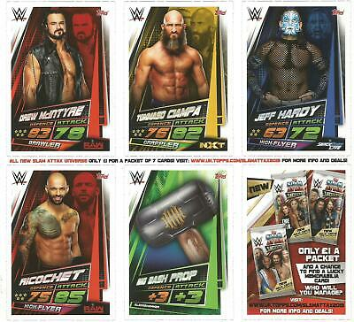 WWE Topps All New Slam Attax Universe Trading Cards (Set of 5) Brand New