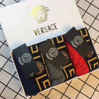 FOR Versaces Men's Underwear Boxers Pants Briefs Trunks 3-Pack With Box