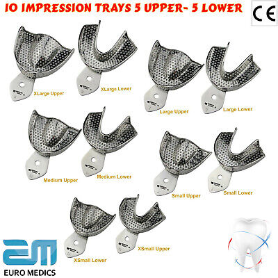 Dental Impression Tray Set Of 10 XS.S.M.L.XL Upper/Lower Perforated Teeth Holder