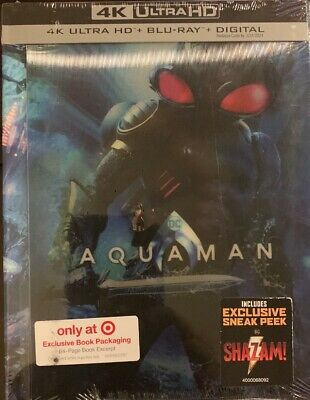 Aquaman(4K Ultra Hd+Blu-Ray+Digital)Target Exclusive 64Pg Book New Free Shipping