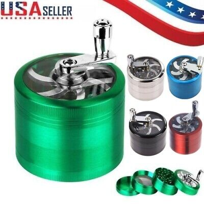 USA Tobacco Herb Spice Grinder 4 Piece Herbal Alloy Smoke Metal Chromium Crusher