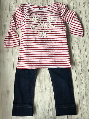 Girls Mixed Brands Red And White Long Top And Jeans Outfit Age 12-13 Years
