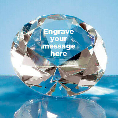 Personalised Engraved Clear Crystal Diamond Paperweight 8cm Wedding Anniversary