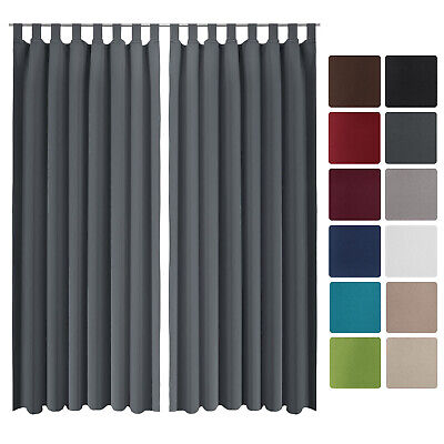 Beautissu 2 Set Opaque Blackout Curtain Amelie with Loops 140 x 245cm Anthracite