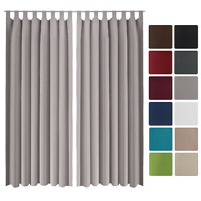 Beautissu 2 Set Opaque Blackout Curtain Amelie with Loops 140 x 245cm Grey