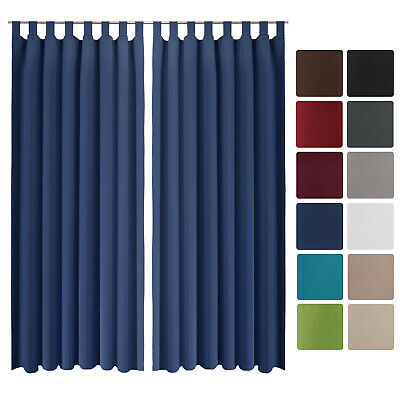 Beautissu 2 Set Opaque Blackout Curtain Amelie with Loops 140 x 245cm Blue