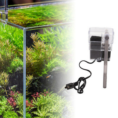 mini aquarium power filter waterfall water pump fish tank hang on slim filteK7T