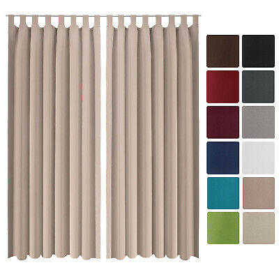 Beautissu 2 Set Opaque Blackout Curtain Amelie with Loops 140 x 245cm Sand