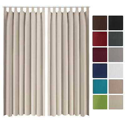 Beautissu 2 Set Opaque Blackout Curtain Amelie with Loops 140 x 245cm Cream