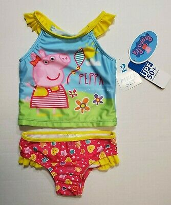 Toddler Girls Size 3T PEPPA PIG Multi-Color 2 Piece Swimwear Tankini NWT