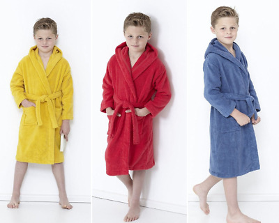Boys Girls 100% Egyptian Cotton Hooded Bath Robe Terry Towelling Kids Bathrobes