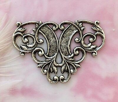 ANTIQUE SILVER (2 Pieces) Flourish Scroll Connector Stamping (D-824)