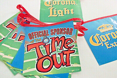 AS IS Corona Extra & Light Beer TIME OUT Cardboard STRING 20 Foot 13 Flag Banner