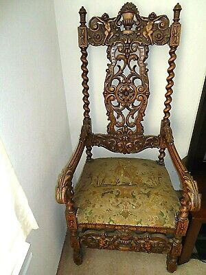 Antique Carved Arm Chair Louis XIV FIGURAL ANGELS SPIRAL RAILS