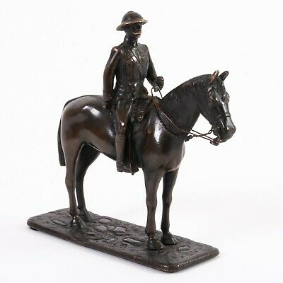 "Antique J.H. Potter Sheffield Bronze Statue Theodore Roosevelt on Horse 5.5"" T"