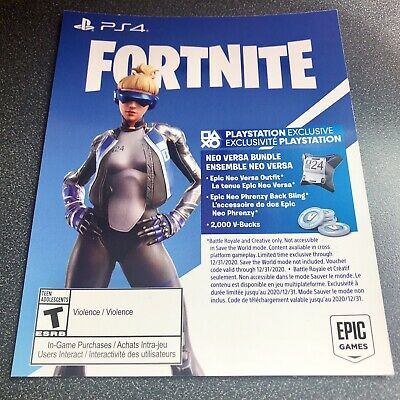PS4 USA FORTNITE 2000 V-Bucks NEO VERSA GIRL Outfit Cosmetic Skin DOWNLOAD-CARD