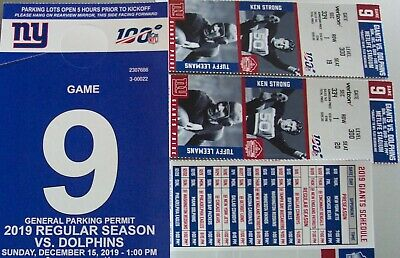 Lower Loge-Row 1 -Sec,334 - 2 Tickets- New York Giants/Miami Dolphins+Park Pass