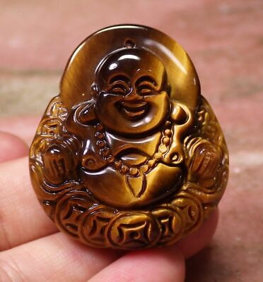 1 Pcs CHINESE Tiger Eye JADE PENDANT Buddha God Old Money Coin 100521
