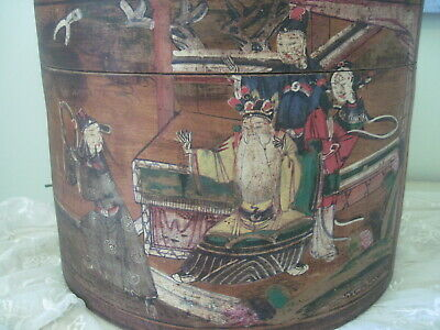 Antique Chinese Wooden Container Hat Box Hand Painted
