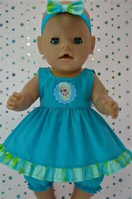 "Play n Wear Dolls Clothes To Fit 17"" Baby Born  AQUA DRESS~BLOOMERS~HEADBAND"