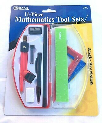 Precision Maths Set Compass Ruler Protractor Eraser Sharpener Pencil Red