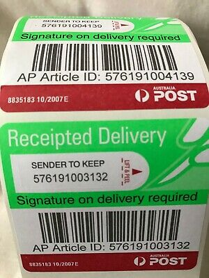 500 Auspost Signature On Delivery Tracking Receipted Registered Australia Post*