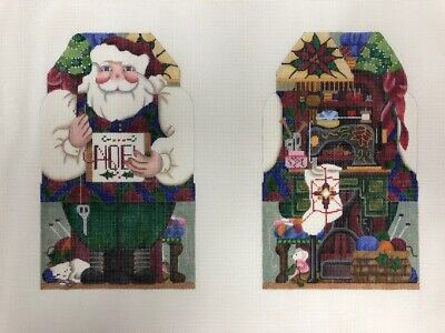 Melissa Shirley Sewing Santa Hand-painted Needlepoint Canvas - New/Vintage