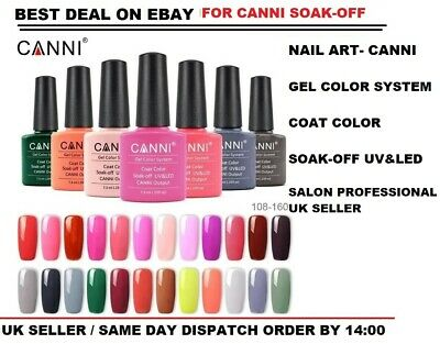 Nail Gel Polish Set CANNI Soak Off Colour Varnish Glitter Base Top Coat UV LED