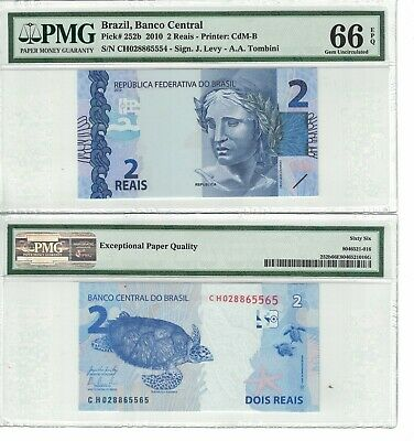 Brazil  2010  GEM UNC 10 Reais Banknote Paper Money Bill P-254