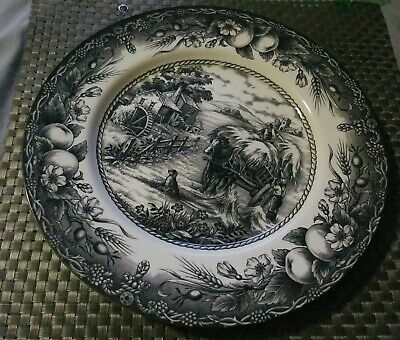 "Royal Stafford Hayride Black Dinner Plate 11"" Fine Earthenware England. Excellnt"