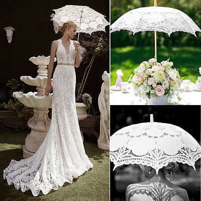 White Bridal Lace Vintage Women Parasol Sun Umbrella Wedding Party Decoration