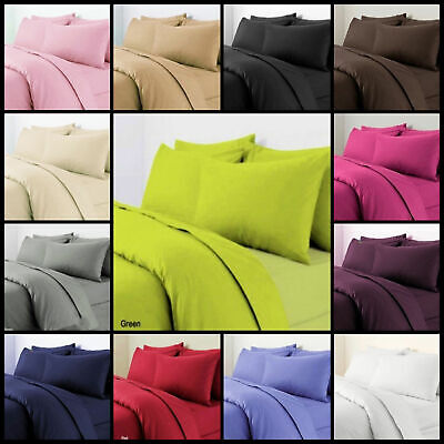 Plain Duvet Cover Bedding Set with Pillowcase OR Sheets Single Double King SKing
