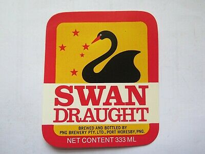 SWAN DRAUGHT BEER LABEL c1970 PNG BREWERY PORT MORESBY PAPUA NEW GUINEA 333 Mls